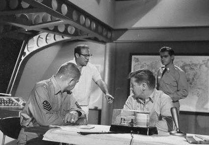 Irwin Allen gives directions during shooting of the pilot.