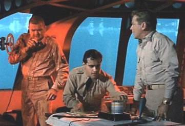 Henry Kulky, Derrik Lewis and Richard Basehart from the color pilot, Eleven Days to Zero